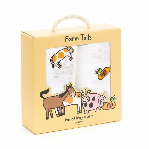 Jellycat Farm Tails - pair of baby muslins
