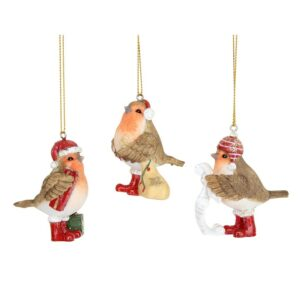 Gisela Graham 3 x Robin Christmas Decorations
